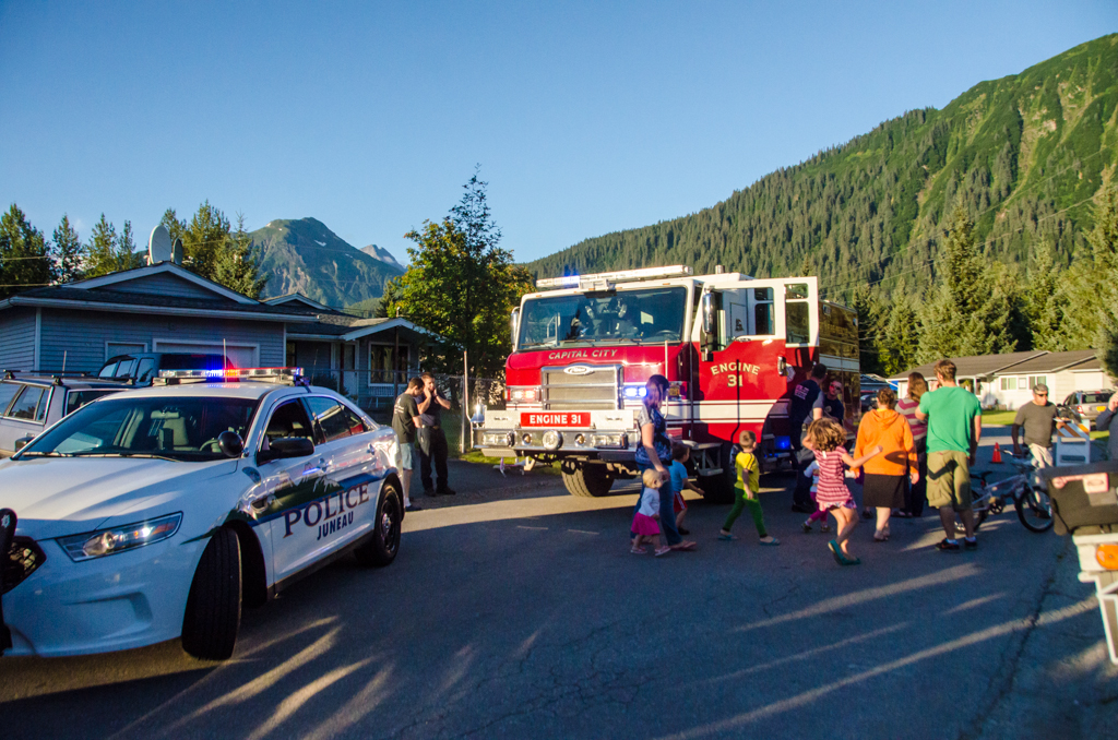 The Juneau Police Department, Capital City Fire and Rescue and the Coast Guard Auxilary visited neighborhoods across Juneau as part of National Night Out.