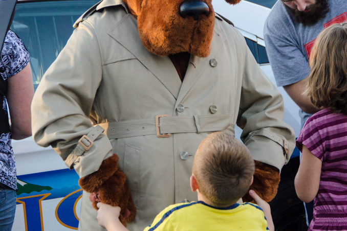McGruff the Crime Dog was a big hit with kids at the parties.