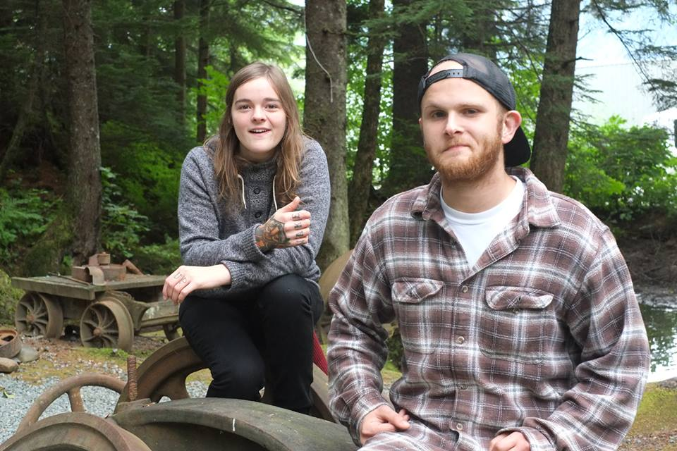 Liz Snyder and Alex Kotlarsz hanging in the Woods before their performance at the Salmon Bake. Photo by Annie Bartholomew/KXLL