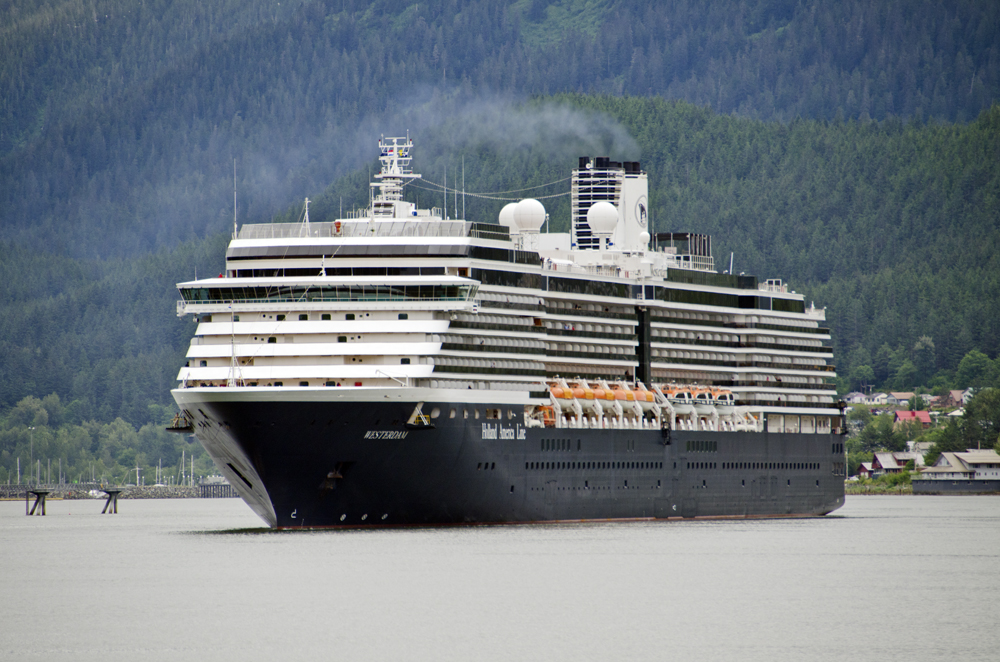 The Holland America Cruise Ship Westerdam prepares to dock in Juneau July 16, 2012. (Heather Bryant/KTOO)