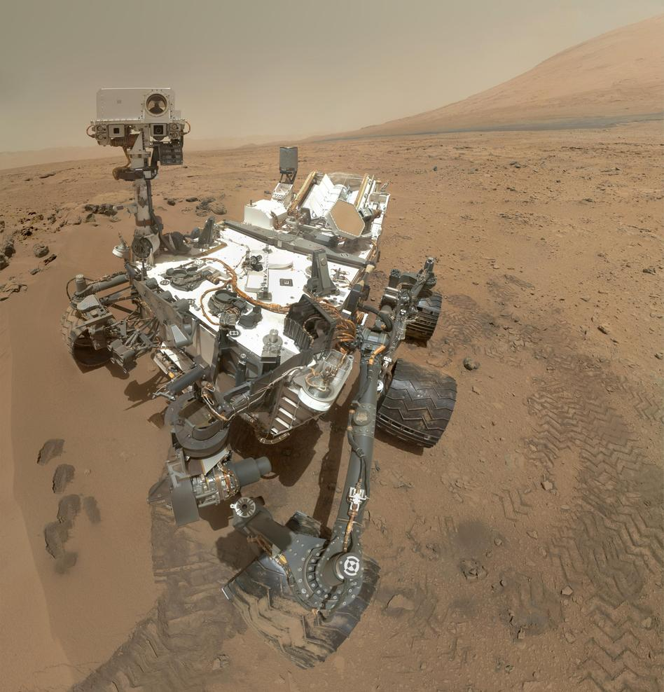 A self portrait mosaic of the Mars Curiosity Rover inside the Gale Crater. NASA