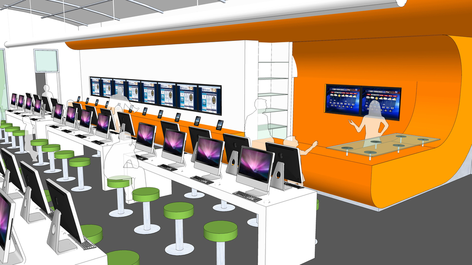 An artist's rendering shows computer stations at the new BiblioTech bookless public library in Bexar County, Texas. The library is holding its grand opening Saturday. Courtesy of Bexar County