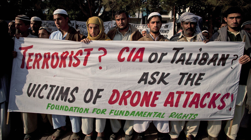 Pakistani tribal villagers hold a rally in the capital, Islamabad, in 2010 to condemn U.S. drone attacks on their villages. B.K. Bangash/Associated Press