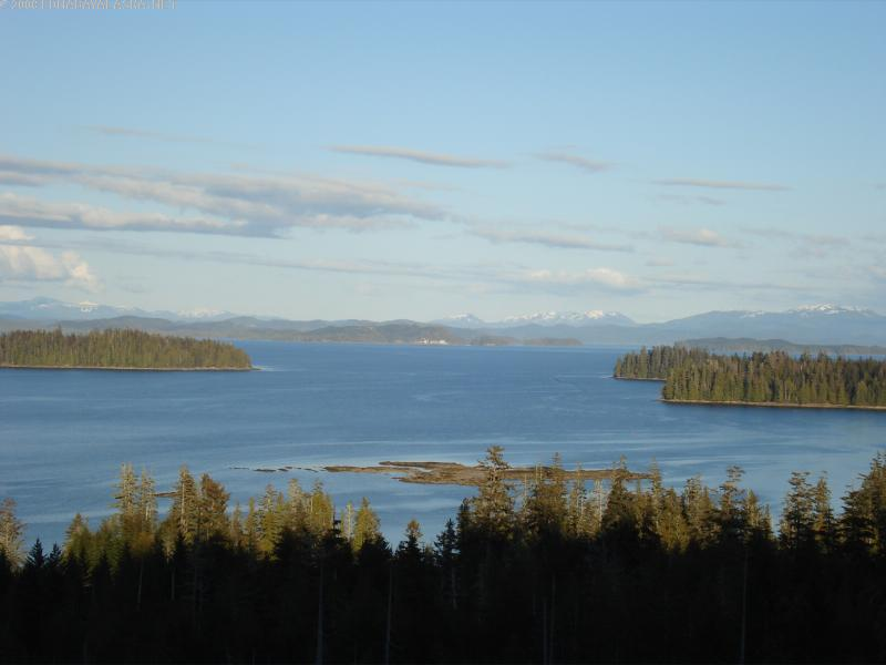 A view of Edna Bay from the top of a mountain looking out to Sea Otter Sound. (Image courtesy Edna Bay website)