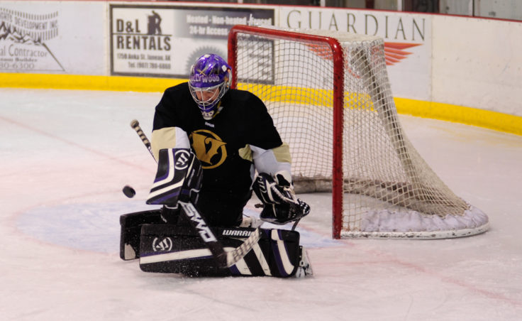 """Stephen """"Hollywood"""" Morrison turns back one of his 22 saves in a Tier A game Sunday, one of five that helped the Juneau Adult Hockey Association kickoff its fall season."""