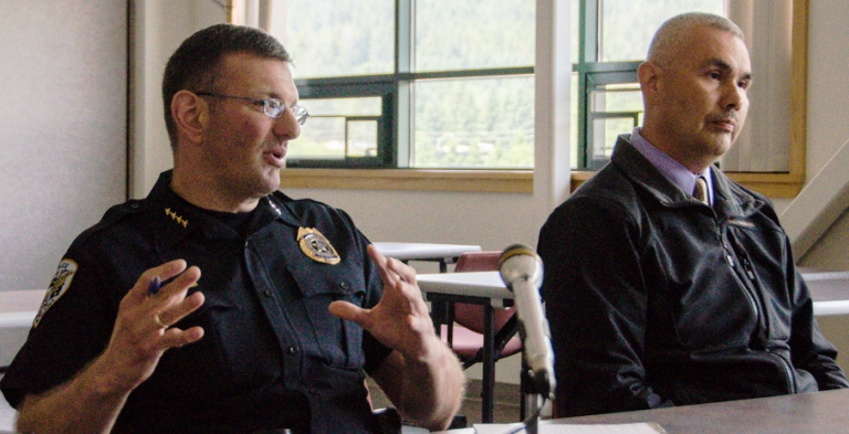 Juneau Police Chief Bryce Johnson (left) and Deputy Chief Ed Mercer (right). File photo.