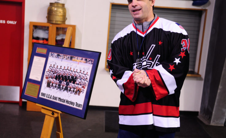 After completing day one of his two-day hockey clinic, Steve MacSwain talked about the 1980 U.S. Hockey Team's photo and the 22-year journey to collect the signatures. MacSwain donated the photo to JDIA, which framed the photo for permanent display at Treadwell Ice Arena.