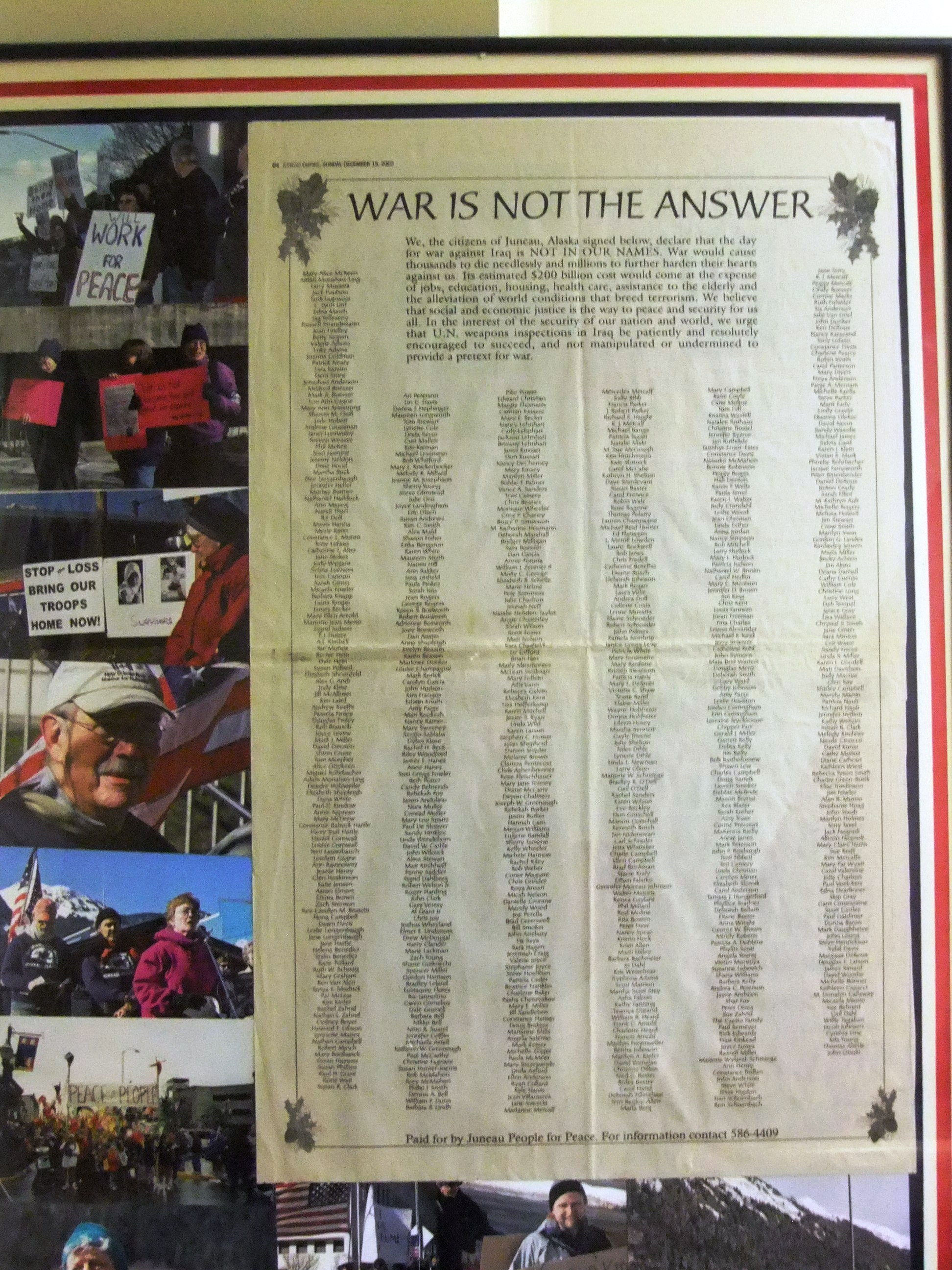 More than 1,000 Juneau residents signed this ad published in December 2002. Local peace groups were active then. Concerns about Syria is prompting new interest..