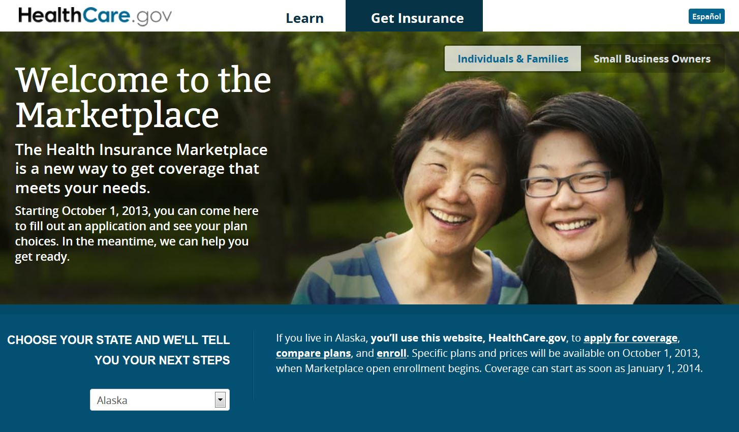 This is what the website looks like today. (healthcare.gov)
