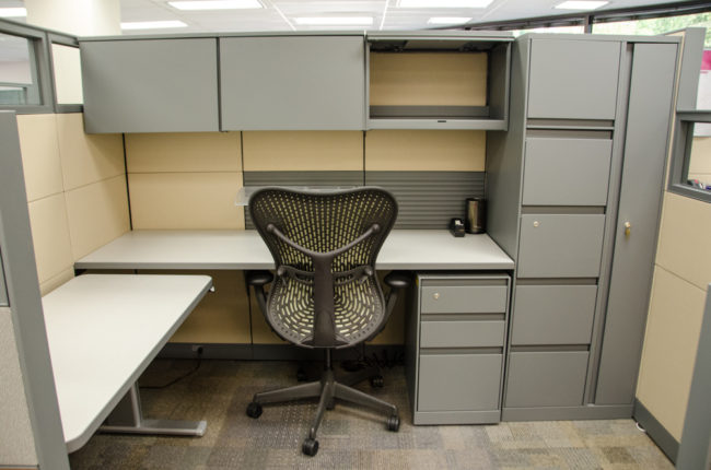 An example of a new workstation under the state's Universal Space Standards. (Photo by Heather Bryant/KTOO)