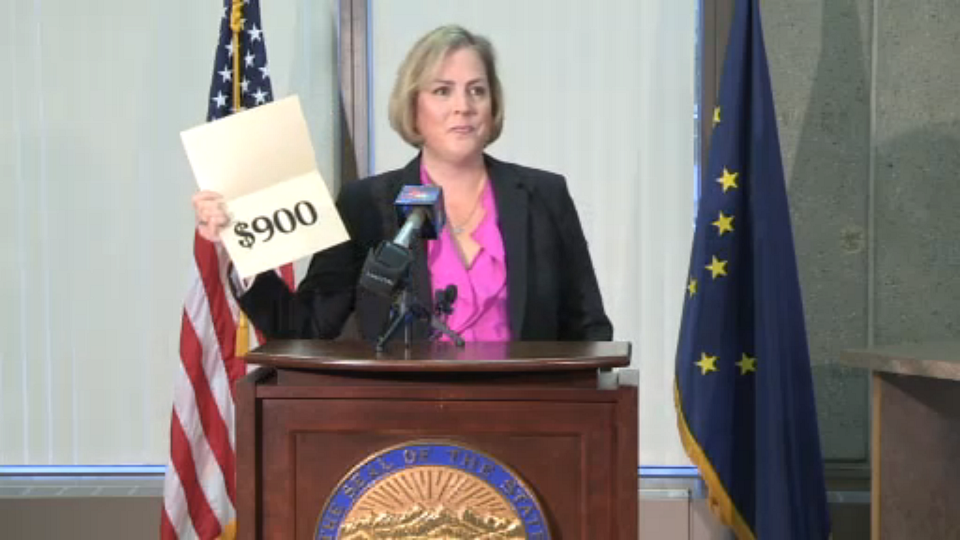 Screen grab of streaming video of Sept. 18, 2013 announcement in Anchorage by Acting Department of Revenue Commissioner Angela Rodell of the amount of the 2013 Alaska Permanent Fund Dividend.