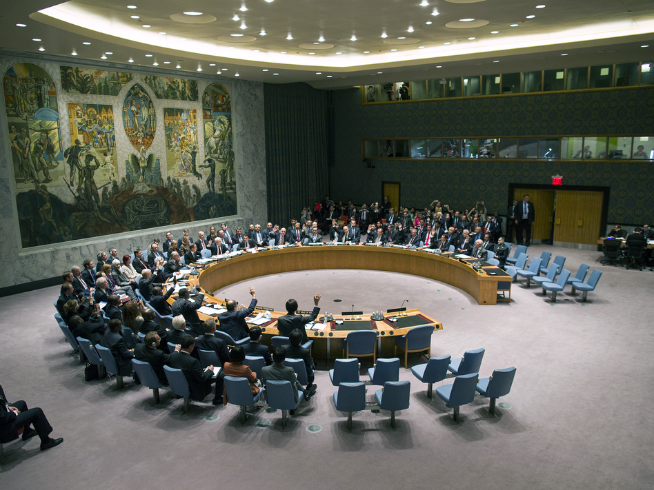 The U.N. Security Council votes on a resolution that will require Syria to give up its chemical weapon, at U.N. Headquarters last month. Craig Ruttle/AP