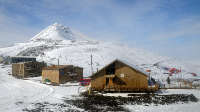 The Chalet (right) is the U.S. Antarctic Program's administrations and operations center at McMurdo Station. Reed Scherer/National Science Foundation