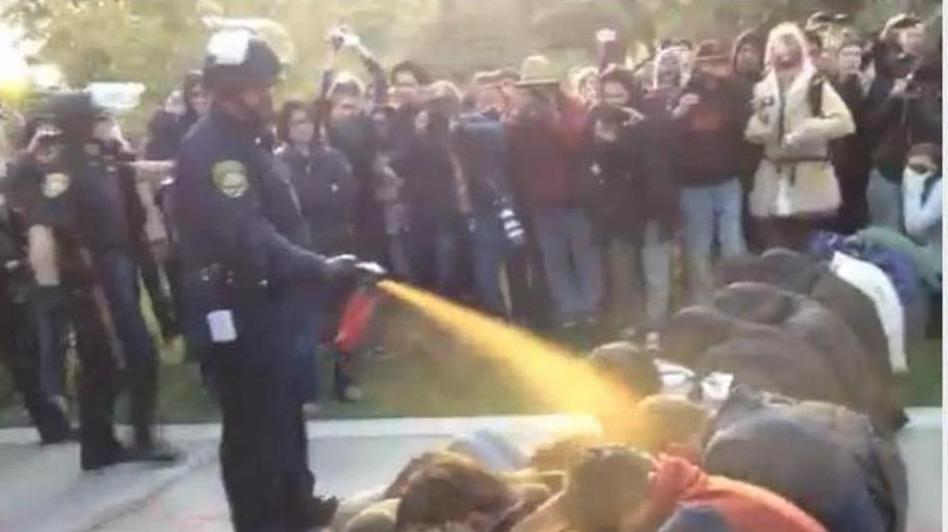 Nov. 18, 2011: Occupy protesters get sprayed at University of California Davis. YouTube