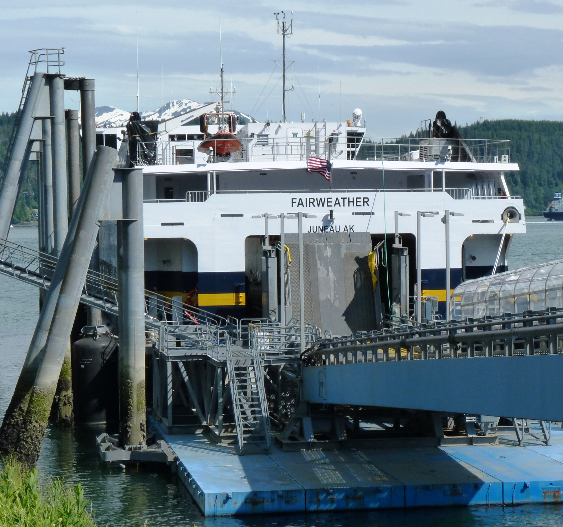 Fast ferry Fairweather docked in Auke Bay (Photo by Ed Schoenfeld/CoastAlaska News)