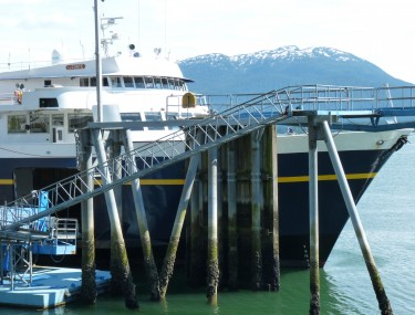 The LeConte docks at Juneau's Auke Bay ferry terminal last June. It missed several days of sailings then due to a broken bow thruster. That's what knocked it out of service again. (Ed Schoenfeld/CoastAlaska News_