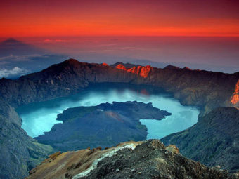The Samalas volcanic crater at Rinjani National Park on Lombok Island, Indonesia. Rinjani National Park, Indonesia