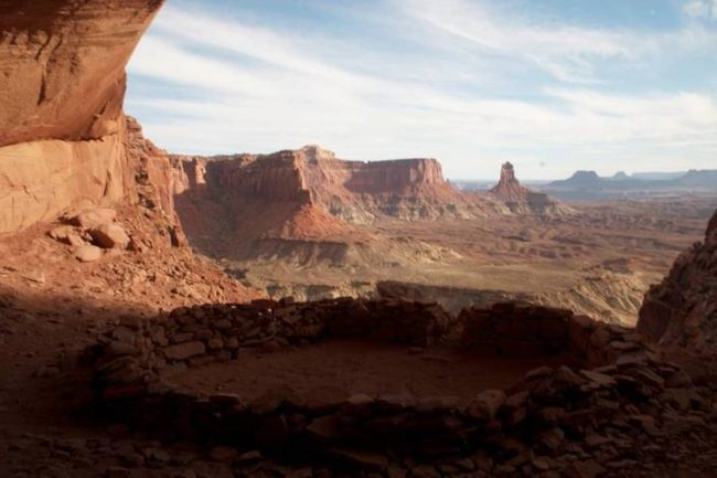 False Kiva in the Island in the Sky section of Canyonlands National Park is off-limits to hikers during the government shutdown but officials in San Juan County, Utah, say they plan to reopen the park themselves and allow visitors to enter. Wanda Gayle/NPR