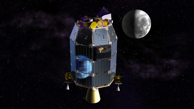 NASA's Lunar Atmosphere and Dust Environment Explorer probe, seen in this artist's rendering, is orbiting the moon to gather detailed information about the lunar surface. Dana Berry/NASA