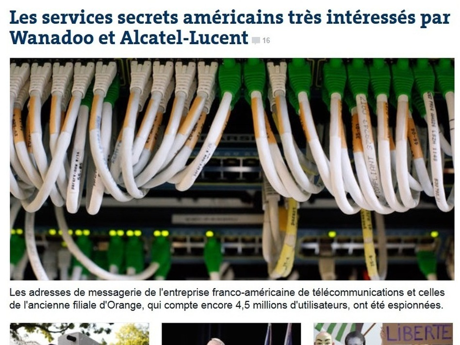 Le Monde has the scoop on allegations about NSA spying on French phone calls. LeMonde.fr