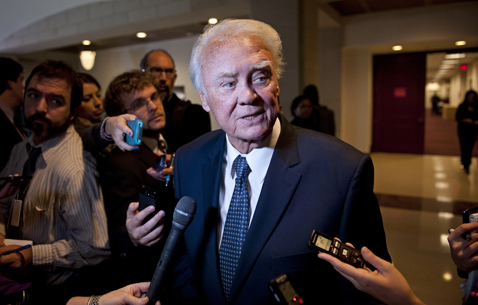 Rep. Bill Young, R-Fla., speaks with reporters on Capitol Hill in Washington in 2012.   Cliff Owen/AP