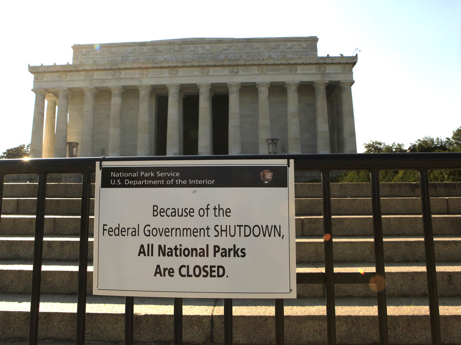The Lincoln Memorial is officially closed. National parks and monuments are among the parts of the federal government affected by the shutdown. Dennis Brack /Landov