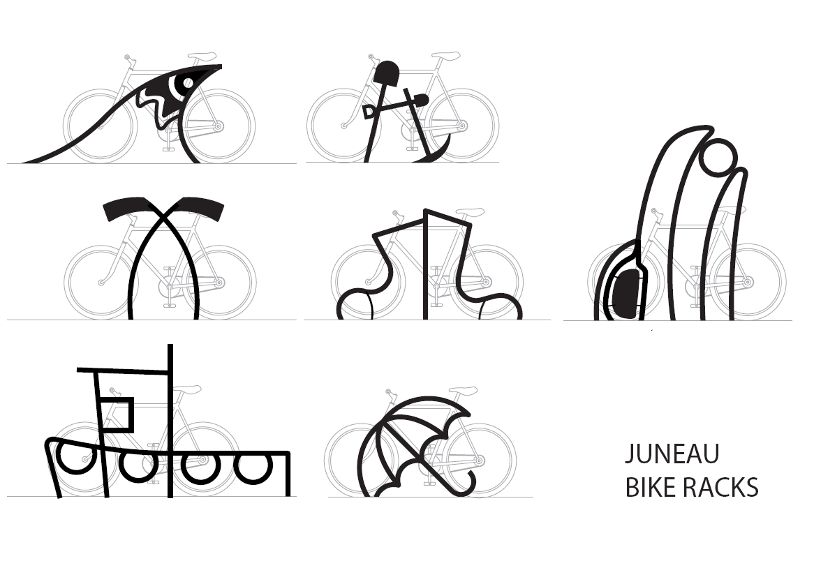 Renderings of custom, two-tone bike racks Juneau is buying that will double as public art.  (Courtesy Dero Bike Rack Co.)