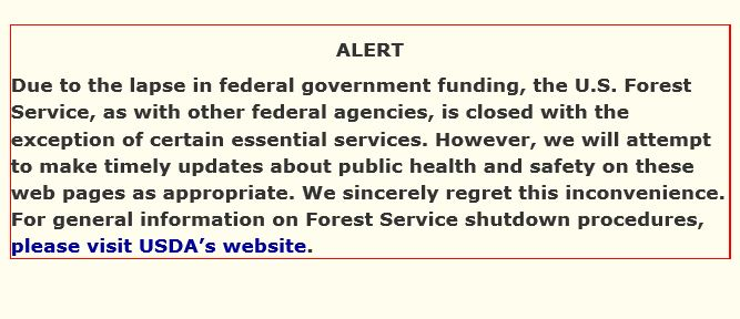 The Forest Service's website is also closed down.