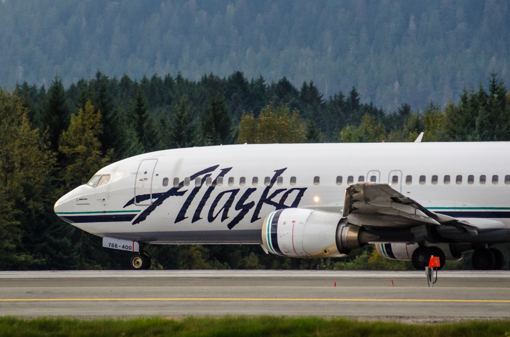 Alaska Airlines jet at the Juneau International Airport