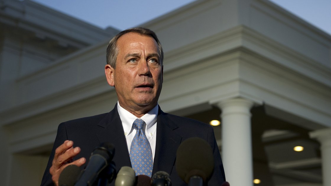 House Speaker John Boehner speaks to the media after a meeting with President Obama at the White House on Wednesday. Saul Loeb/AFP/Getty Images