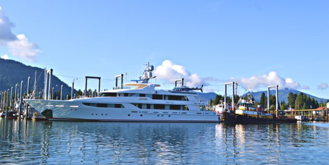 A visiting yacht, complete with its own helicopter, tied up in Petersburg's South Harbor. Photo by Carey Case.
