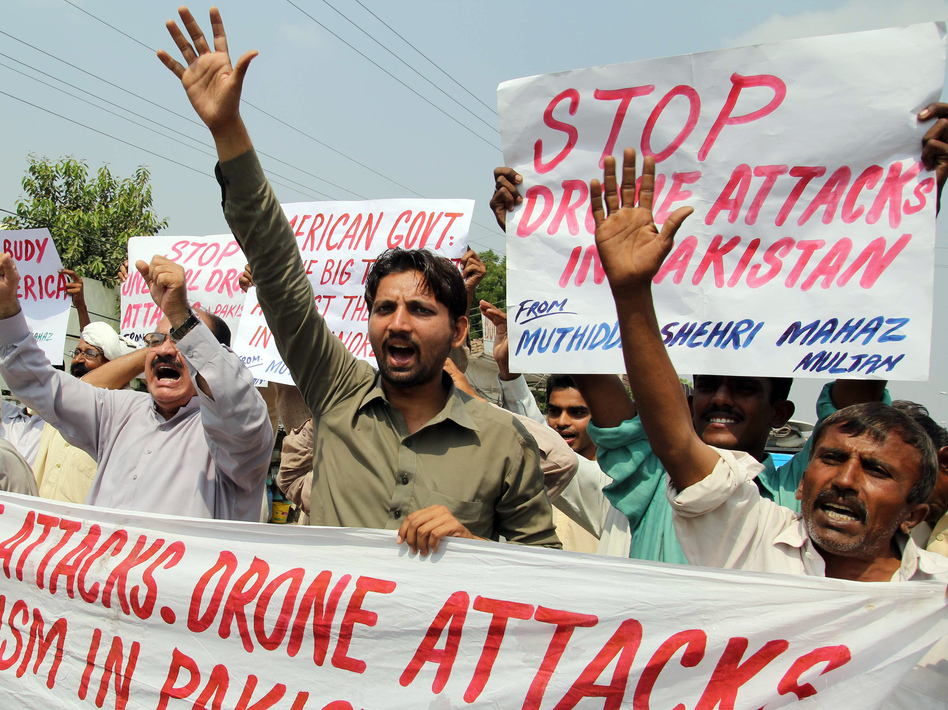 Protesters in Multan, Pakistan, last month expressed their anger about U.S. drone strikes. S.S. Mirza/AFP/Getty Images