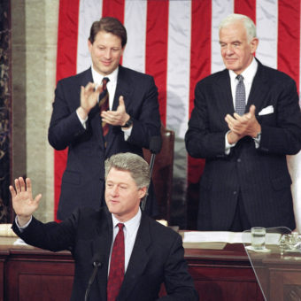 House Speaker Tom Foley (back, right) and Vice President Al Gore applaud during President Bill Clinton's State of the Union address on Jan. 24, 1994. Ron Edmonds /AP