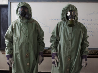 In the northern Syrian city of Aleppo last month, there was a class about how to protect against chemical weapons attacks. J.M. Lopez/AFP/Getty Images