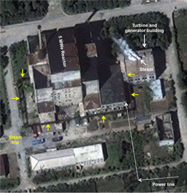An Aug. 31 image from DigitalGlobe shows the 5-megawatt reactor at North Korea's Yongbyon facility. South Korean officials say they have confirmed that the nuclear reactor has been restarted. DigitalGlobe/ScapeWare3d/via Getty Images