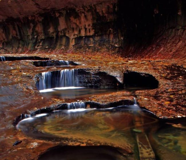 "An autumn scene in the canyon known as ""The Subway"" in Zion National Park in Utah, which is now off-limits to hikers and other tourists due to the government shutdown. Wanda Gayle/NPR"