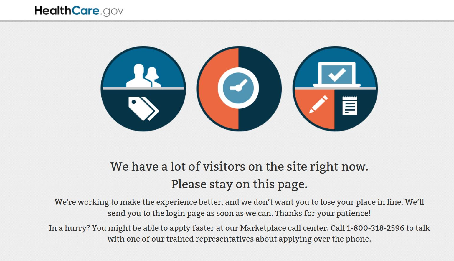 The healthcare.gov site on Wednesday morning