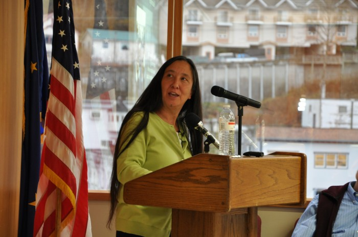 Jana Harcharek, director of the North Slope Borough School District's Iñupiaq Education Department, discusses Native education and spirituality during the Sealaska Heritage Institute's Native spirituality lecture series. (Christina Eriksen/Sealaska Heritage Institute)