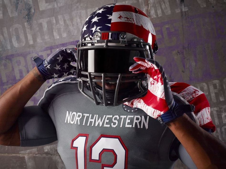 Part of the special design to be worn by Northwestern University football players on Nov. 16. Facebook.com/UnderArmourFootball