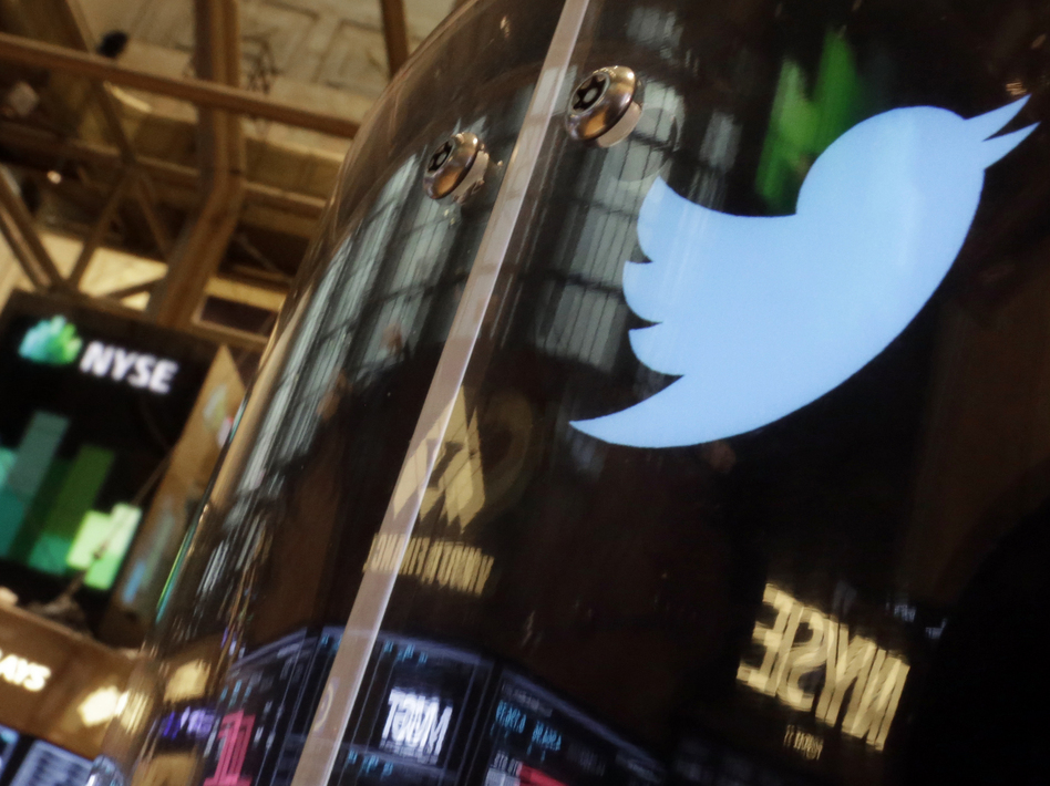 Will it fly? The Twitter bird logo was decorating a post on the floor of the New York Stock Exchange Wednesday. Richard Drew/AP