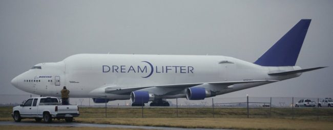 Grounded: The Boeing 747 Dreamlifter that mistakenly landed Wednesday at Jabara airport in Wichita, Kan. Jaime Green /MCT/Landov