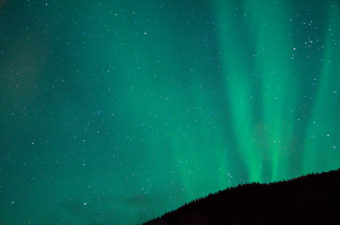 The aurora at Mendenhall Lake on Nov. 8, 2013. (Photo by Heather Bryant)