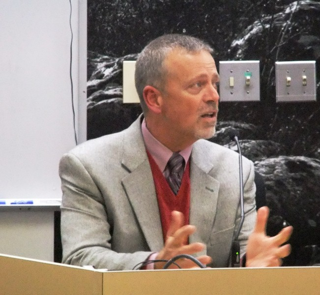 Bartlett Regional Hospital interim CEO speaks to the Juneau Assembly on Monday.  Photo by Rosemarie Alexander.