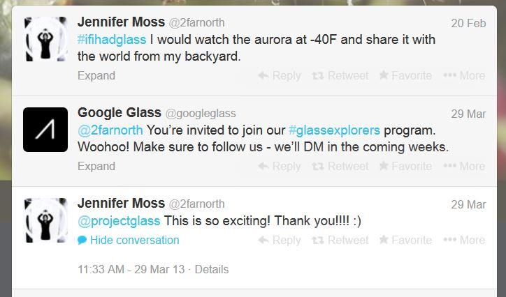 Twitter exchange between Jennifer Moss and Google