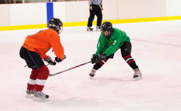 Yukon Pass defenseman Katie Spielberger pokes at the puck handled by Shamrock's Mary Hauser.