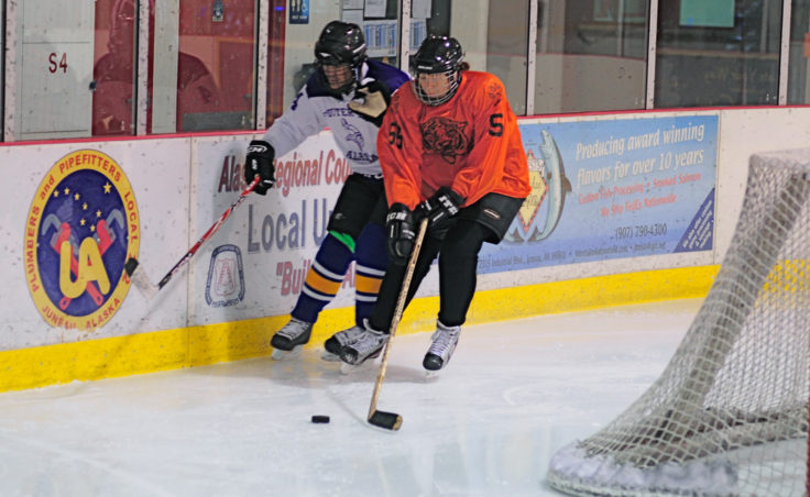 Tigers' defenseman Alana McGovern squeezes Funter Bay Jim Renkes along the boards during a C Tier title game.