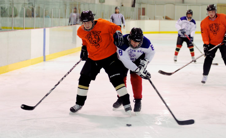 Tigers forward Adam Sycks (left) battles Funter Bay's Pat Lammerson along the boards during C Tier title game, won 4-3, by the Tigers.