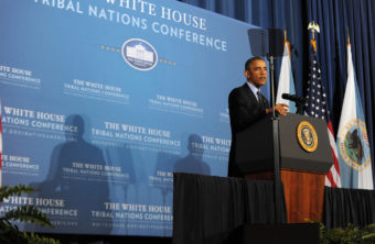 President Obama addresses the 2013 White House Tribal Nations Conference (Photo courtesy of the Department of the Interior)
