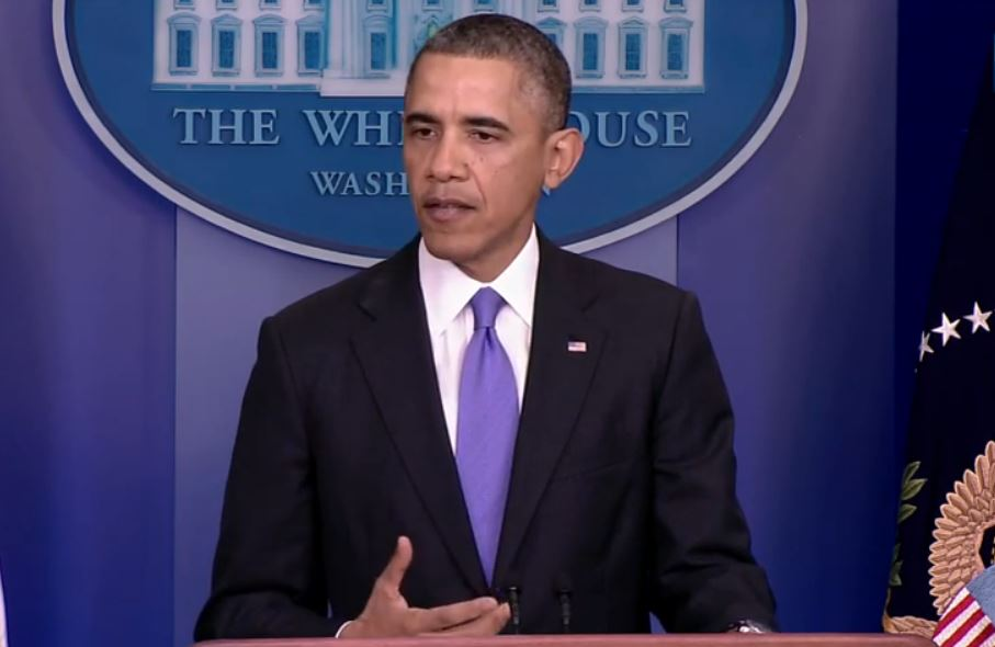Yesterday, President Obama addresses issues with the rollout of the Affordable Care Act and proposed fixes for cancelled insurance plans. (Still from briefing video)
