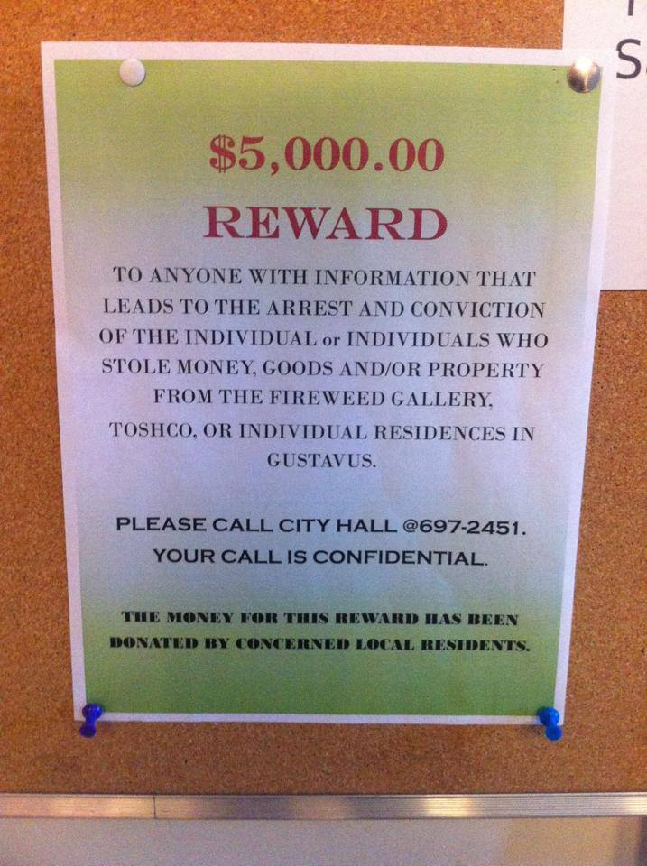 Picture of flier listing a $5000 reward for information leading to the prosecution of thieves in Gustavus as posted on the Living in Paradise Facebook page.
